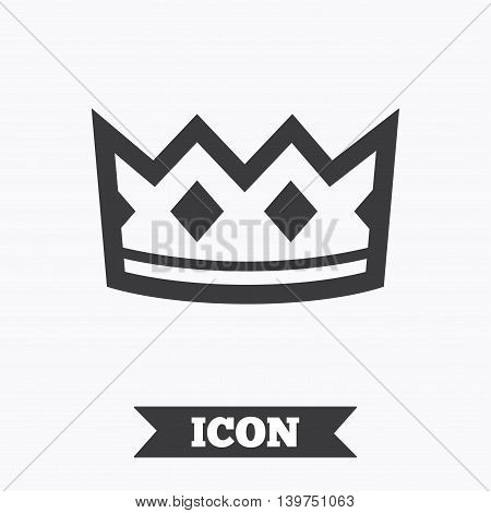Crown sign icon. King hat symbol. Graphic design element. Flat crown symbol on white background. Vector