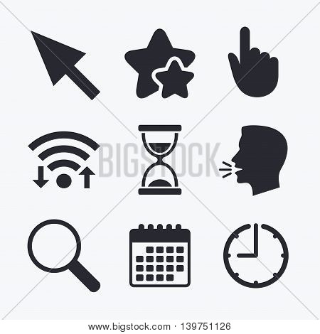 Mouse cursor and hand pointer icons. Hourglass and magnifier glass navigation sign symbols. Wifi internet, favorite stars, calendar and clock. Talking head. Vector