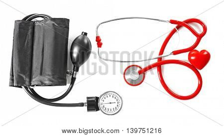 Stethoscope and tonometer, isolated on white