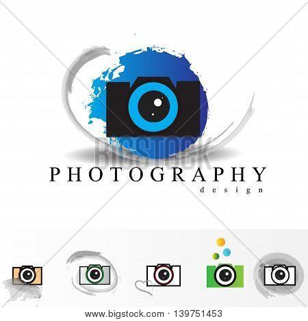 Photography logo design concept set isolated on white background