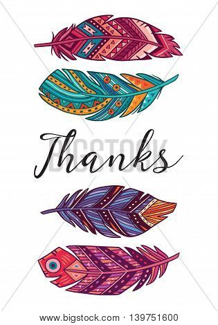 Thanks. Boho art print with decorative feathers in ethnic style. Perfect for invitations, greeting cards, quotes, blogs, posters and more.