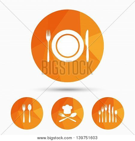Plate dish with forks and knifes icons. Chief hat sign. Crosswise cutlery symbol. Dessert fork. Triangular low poly buttons with shadow. Vector