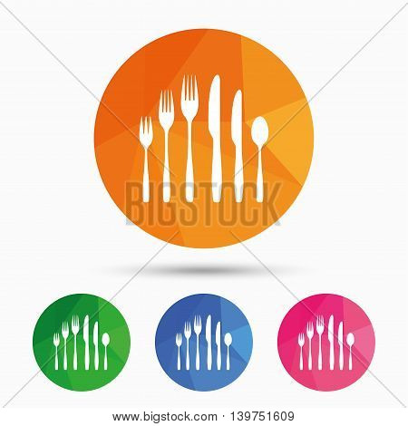 Dessert fork, knife, teaspoon sign icon. Cutlery collection set symbol. Triangular low poly button with flat icon. Vector