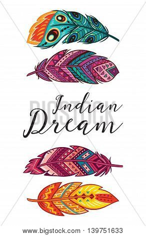 Boho art print with decorative feathers in ethnic style. Indian Dream. Perfect for invitations, greeting cards, quotes, blogs, posters and more.