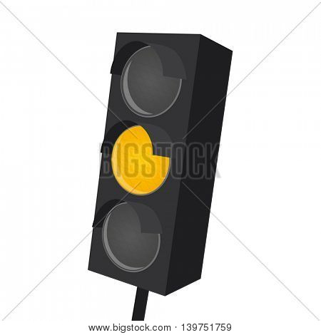 isolated traffic light with yellow light on
