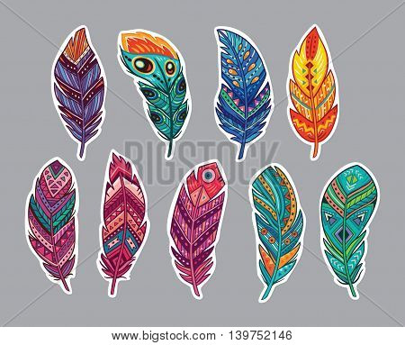 Collection of stickers with indian feathers. Set of hand drawn rustic decorative feathers. Vector illustration