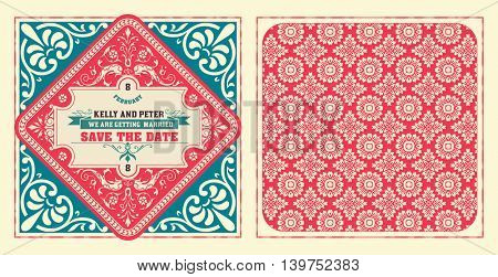 Retro wedding card. Vector by layered