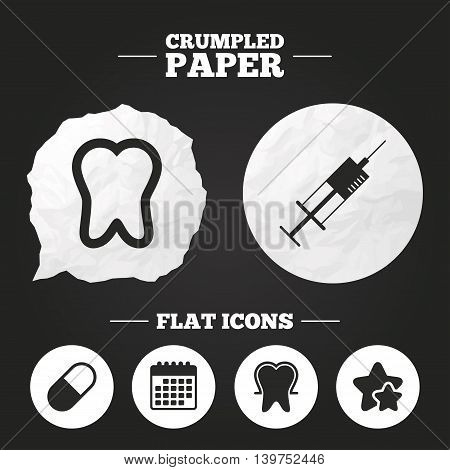 Crumpled paper speech bubble. Tooth enamel protection icons. Medical syringe and pill signs. Medicine injection symbol. Paper button. Vector