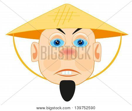 Man Vietnamese in straw hat on white background is insulated