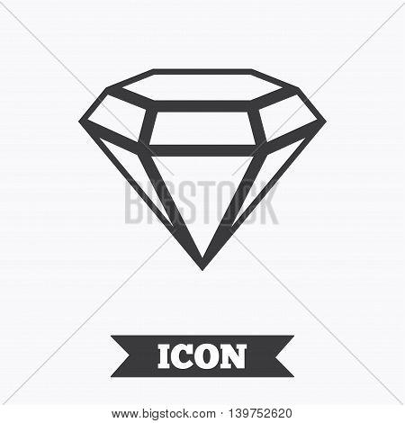 Diamond sign icon. Jewelry symbol. Gem stone. Graphic design element. Flat jewelry symbol on white background. Vector