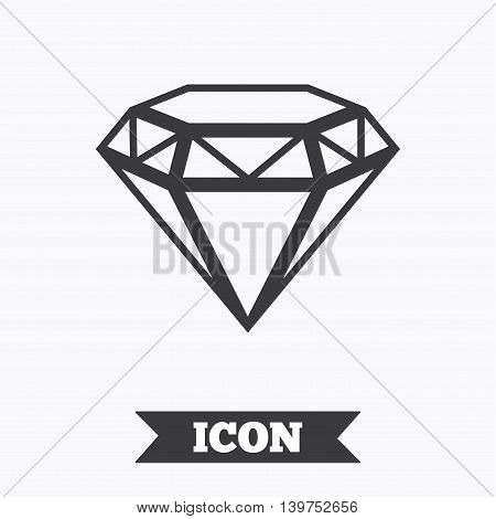 Diamond sign icon. Jewelry symbol. Gem stone. Graphic design element. Flat brilliant symbol on white background. Vector