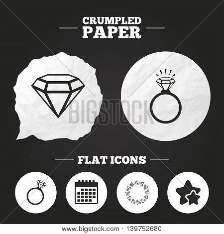 Crumpled paper speech bubble. Rings icons. Jewelry with shine diamond signs. Wedding or engagement symbols. Paper button. Vector