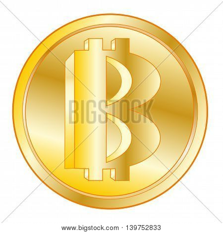 Virtual money bitcoin on white background is insulated