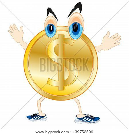 Vector illustration of the cartoon of the alive sign dollar on white background