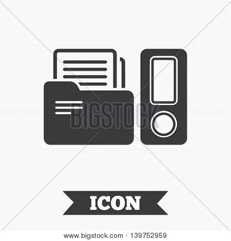 Document folder sign. Accounting binder symbol. Bookkeeping management. Graphic design element. Flat folder symbol on white background. Vector