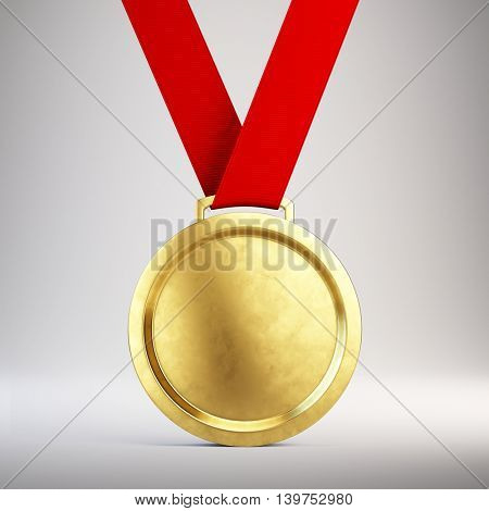 First place Gold medal with red ribbon on gray background - 3d illustration