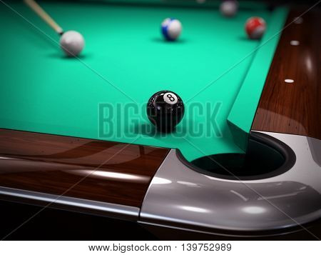 American Pool, Snooker billiard game - strike on the black eighth ball. 3d illustration