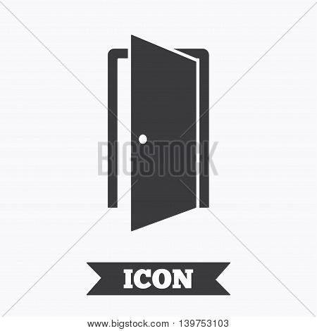 Door sign icon. Enter or exit symbol. Internal door. Graphic design element. Flat door symbol on white background. Vector