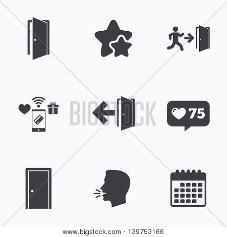 Doors icons. Emergency exit with human figure and arrow symbols. Fire exit signs. Flat talking head, calendar icons. Stars, like counter icons. Vector