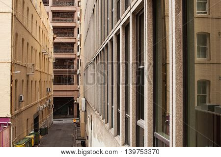 Elevated view down a small alley inner city Melbourne Victoria Australia