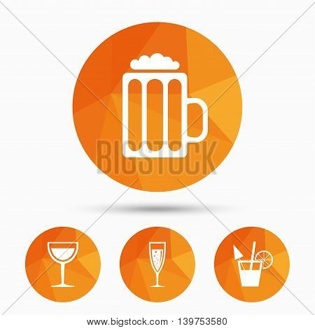 Alcoholic drinks icons. Champagne sparkling wine with bubbles and beer symbols. Wine glass and cocktail signs. Triangular low poly buttons with shadow. Vector