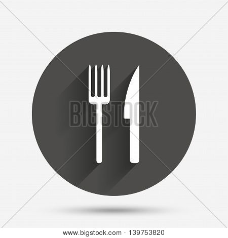Eat sign icon. Cutlery symbol. Fork and knife. Circle flat button with shadow. Vector
