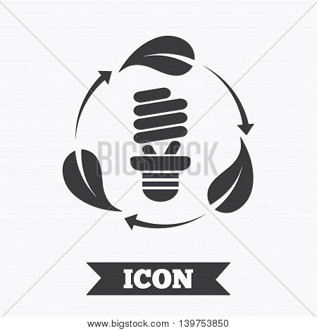 Fluorescent lamp bulb with leaves sign icon. Energy saving. Economy symbol. Graphic design element. Flat fluorescent lamp symbol on white background. Vector