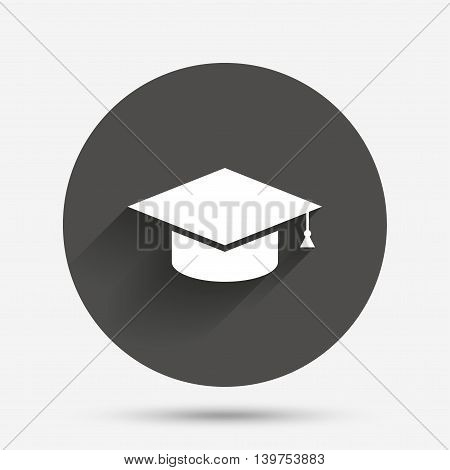 Graduation cap sign icon. Higher education symbol. Circle flat button with shadow. Vector