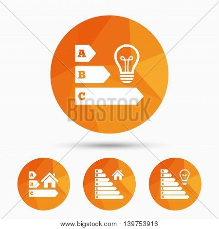 Energy efficiency icons. Lamp bulb and house building sign symbols. Triangular low poly buttons with shadow. Vector
