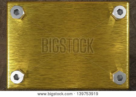 blank golden board with four steel screws, 3d rendering
