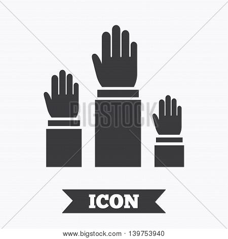 Election or voting sign icon. Hands raised up symbol. People referendum. Graphic design element. Flat elections symbol on white background. Vector