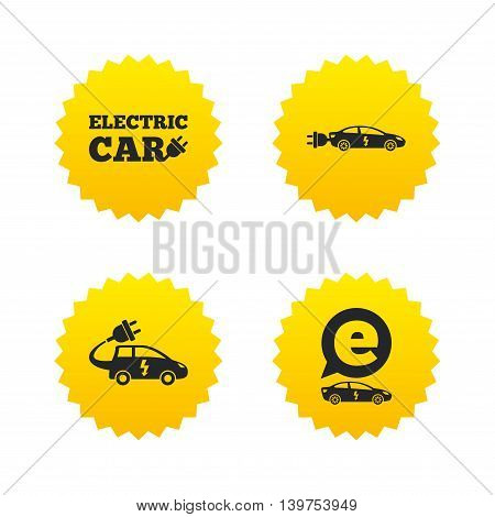 Electric car icons. Sedan and Hatchback transport symbols. Eco fuel vehicles signs. Yellow stars labels with flat icons. Vector