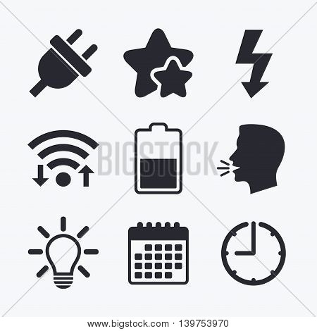 Electric plug icon. Light lamp and battery half symbols. Low electricity and idea signs. Wifi internet, favorite stars, calendar and clock. Talking head. Vector