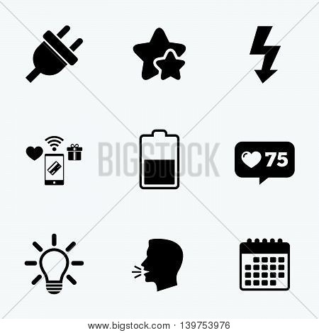 Electric plug icon. Light lamp and battery half symbols. Low electricity and idea signs. Flat talking head, calendar icons. Stars, like counter icons. Vector