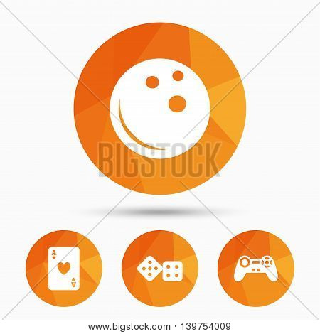 Bowling and Casino icons. Video game joystick and playing card with dice symbols. Entertainment signs. Triangular low poly buttons with shadow. Vector