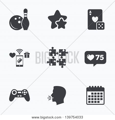 Bowling and Casino icons. Video game joystick and playing card with puzzles pieces symbols. Entertainment signs. Flat talking head, calendar icons. Stars, like counter icons. Vector