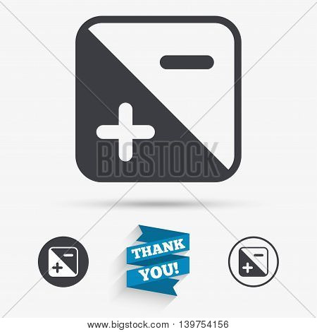 Exposure photo camera sign icon. Quantity of light settings. Flat icons. Buttons with icons. Thank you ribbon. Vector