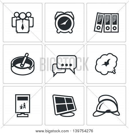 People, Clock, Folders, Ashtray, Dialogue, Recycling, Monitor, Fire Helmet.