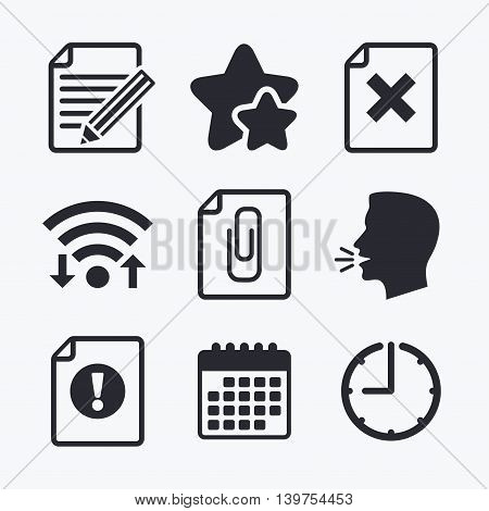 File attention icons. Document delete and pencil edit symbols. Paper clip attach sign. Wifi internet, favorite stars, calendar and clock. Talking head. Vector