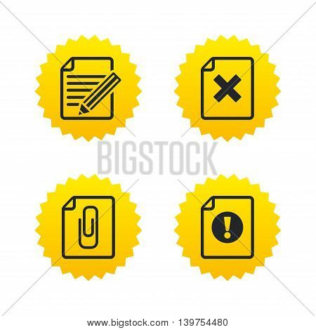 File attention icons. Document delete and pencil edit symbols. Paper clip attach sign. Yellow stars labels with flat icons. Vector
