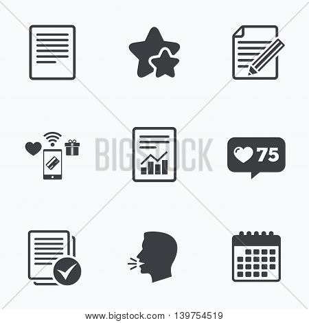 File document icons. Document with chart or graph symbol. Edit content with pencil sign. Select file with checkbox. Flat talking head, calendar icons. Stars, like counter icons. Vector