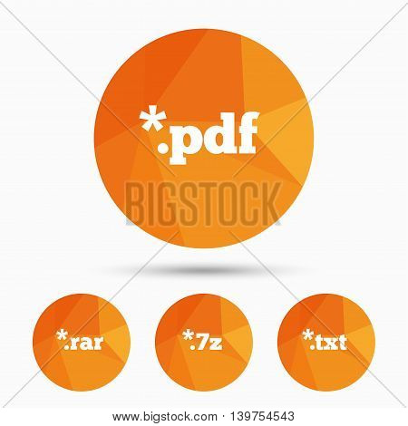 Document icons. File extensions symbols. PDF, RAR, 7z and TXT signs. Triangular low poly buttons with shadow. Vector