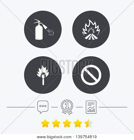 Fire flame icons. Fire extinguisher sign. Prohibition stop symbol. Burning matchstick. Chat, award medal and report linear icons. Star vote ranking. Vector