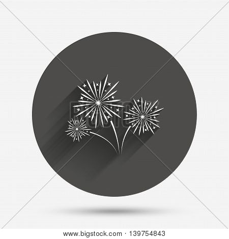 Fireworks sign icon. Explosive pyrotechnic show symbol. Circle flat button with shadow. Vector