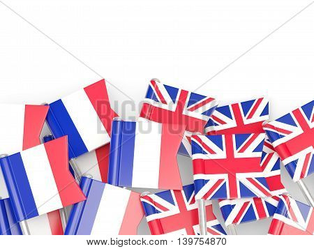 Flags Of France And Uk Isolated On White