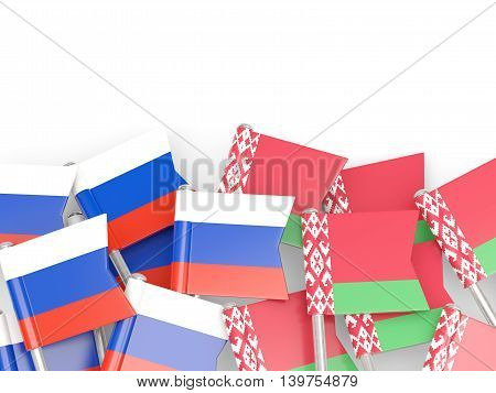 Flags Of Russia And Belarus Isolated On White