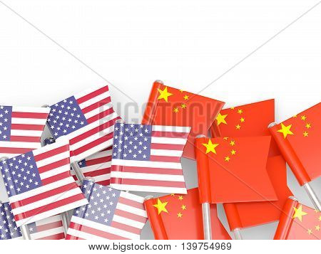 Flags Of Usa And China  Isolated On White