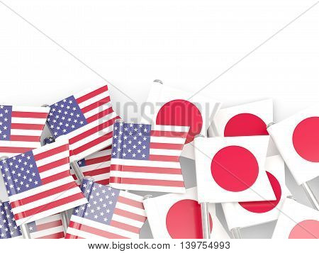 Flags Of Usa And Japan Isolated On White