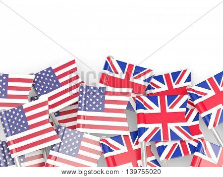 Flags Of Usa And Uk  Isolated On White
