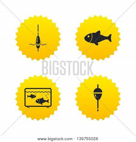 Fishing icons. Fish with fishermen hook sign. Float bobber symbol. Aquarium icon. Yellow stars labels with flat icons. Vector